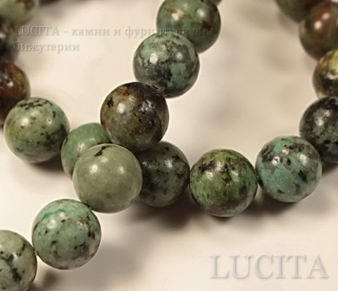 Бусина Бирюза Африканская, шарик, 10 мм, нить ()