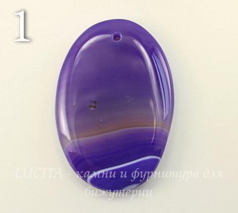 Подвеска Агат (тониров) с полосками (цвет - фиолетовый) (№1 (58х39 мм))