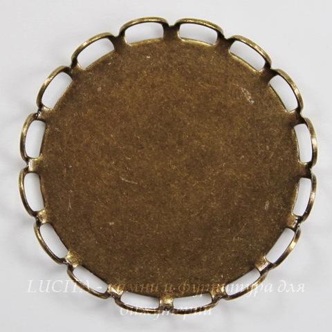 Сеттинг - основа для камеи или кабошона 20 мм (оксид латуни) ()