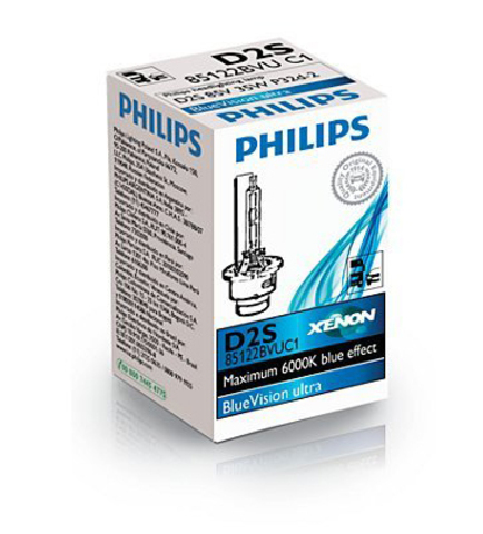 Лампа ксенон D2S (6000К) Philips BlueVision Ultra (картон)