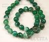 Бусина Агат, шарик с огранкой, цвет - зеленый с белыми полосками, 10 мм, нить ()
