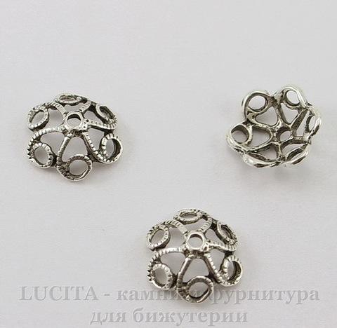 """Шапочка для бусины """"Ажурная"""" (цвет - античное серебро) 12х4 мм, 10 штук"""