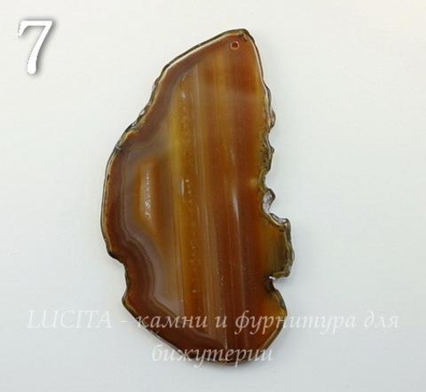 Подвеска Срез Агата (тониров)(цвет- коричневый) (№7 (87х48 мм))
