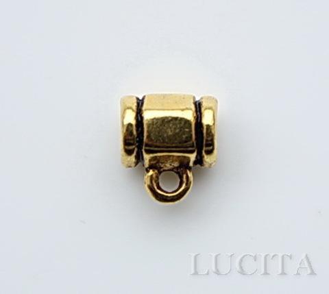 "Бейл ""Граненый"" (цвет - античное золото) 9х8 мм ()"