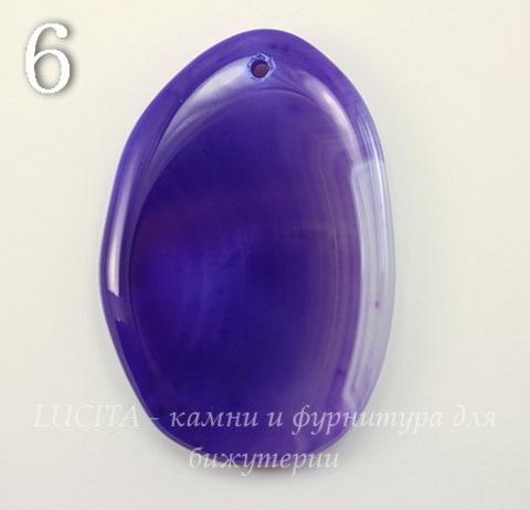 Подвеска Агат (тониров) с полосками (цвет - фиолетовый) (№6 (60х41 мм))