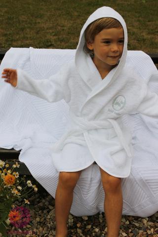 Элитный халат детский с капюшоном Bovi Собачки белый-голубой
