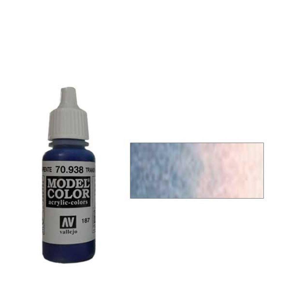 187. Краска Model Color Синий 938 (Transparent Blue) прозрачный, 17мл