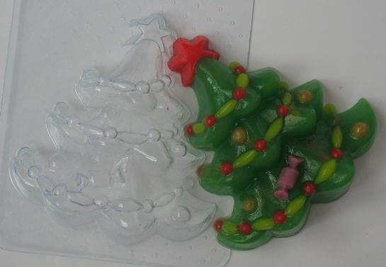 Елка украшенная форма для мыла