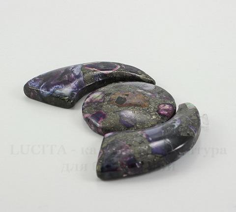 Комплект из 3 подвесок Яшма Императорская (тониров)(прессов) цвет - фиолетовый №19