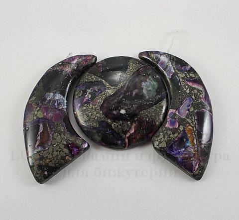 Комплект из 3 подвесок Яшма Императорская (тониров)(прессов) цвет - фиолетовый №13