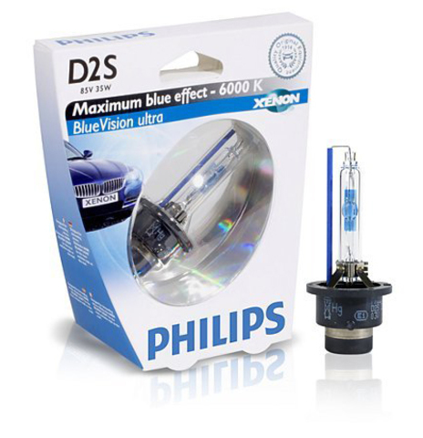 Лампа ксенон D2S (6000К) Philips BlueVision Ultra (блистер)