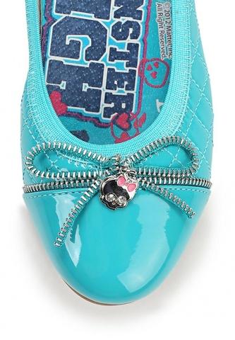 Балетки Монстер Хай (Monster High) лакированные для девочек, цвет голубой. Изображение 7 из 8.