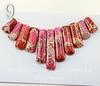 Комплект из 11 подвесок Яшма Императорская (прессов.,тониров) цвет - розовый