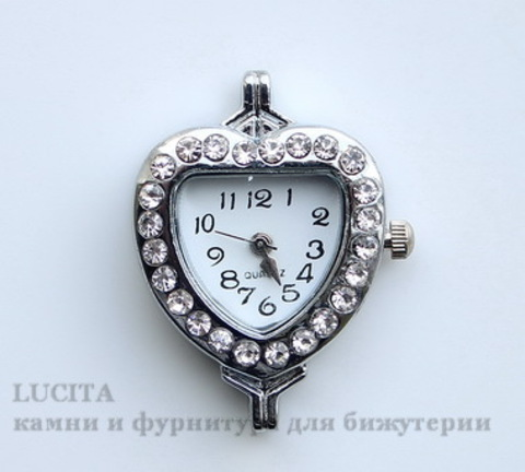 """Основа для часов """"Сердце"""" с прозрачными стразами (цвет - античное серебро) 32х26х8 мм"""