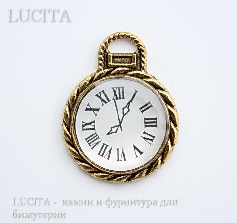"Подвеска ""Часики"" (цвет - античное золото) 26х20 мм"