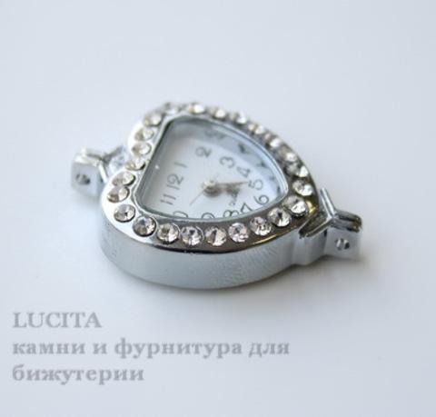 """Основа для часов """"Сердце"""" с прозрачными стразами (цвет - античное серебро) 32х26х8 мм ()"""