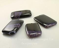 Подвеска Агат с Кварцем (цвет - черный+фиолетовый) 57х36х9 мм
