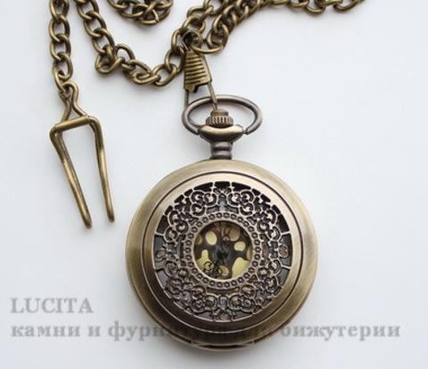 Часы на цепочке с филигранью (цвет - античная бронза) 65х46х16 мм