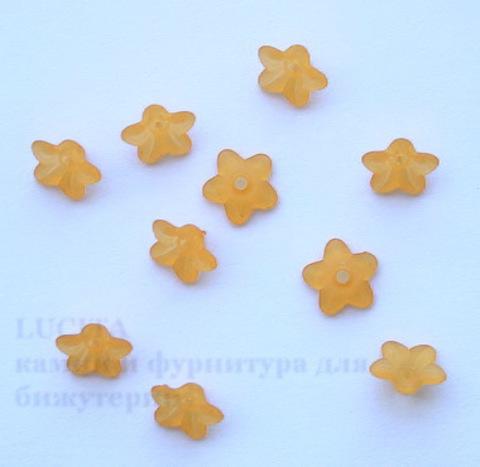 Акриловый цветочек оранжевый 10х4 мм ,10 штук ()