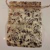"""Подарочный мешочек из органзы """"Золотые розы"""", цвет - золотой, 16х12 см"""