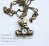 "Часы на цепочке ""Мишка Тедди"" (цвет - античная бронза) 40х36х9 мм ()"