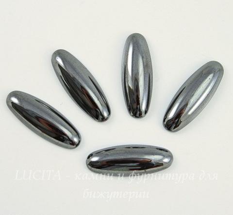 Кабошон овальный Гематит немагнитный глянцевый черный, 22х8 мм