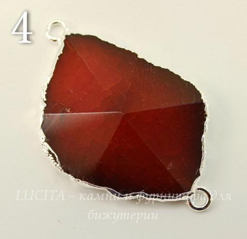 Коннектор (1-1) Агат с огранкой с фольгой (цвет - серебро) (№4 (50х33 мм))
