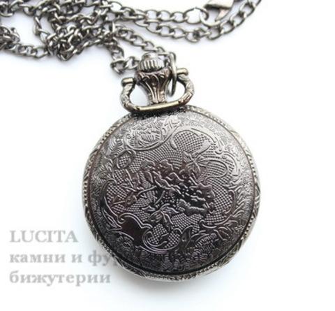 """Часы на цепочке """"Снежинка"""" (цвет - черный никель) 56х40х14 мм ()"""