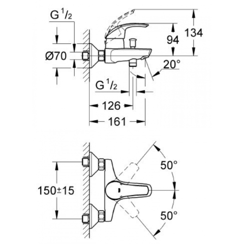 Grohe Eurosmart  Набор смеситель для раковины, смеситель для ванны, душевой гарнитур (117921)