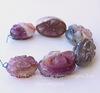 Бусина Агат с кварцем, овал с резным цветком, 30х20х15-16 мм, цвет - розовый, нить