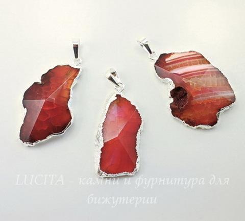 Подвеска Агат (тониров) с огранкой с покрытием фольги (цвет - серебро)(коричнево-розовый)