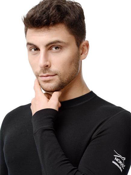 Термофутболка Norveg Soft Rollneck мужская с длинным рукавом чёрная