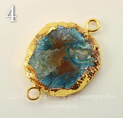 Коннектор (1-1) Агат с друзой с фольгой (цвет - золото) (№4 (38х26 мм))