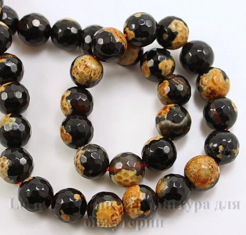 Бусина Агат, шарик с огранкой цвет - черный с бежевым , 10 мм, нить