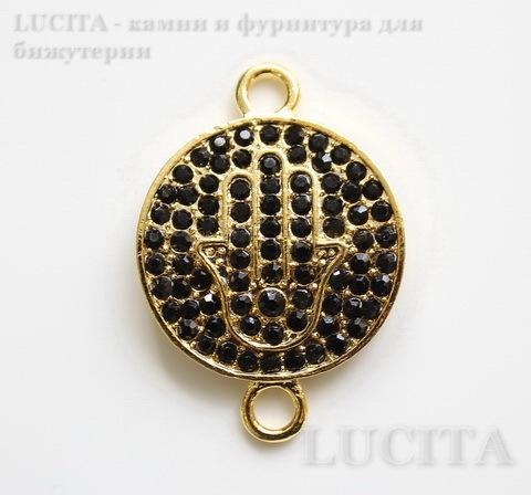 """Коннектор """"Ладонь  Хамса"""" (1-1) с черными фианитами 37х25 мм (цвет - золото)"""
