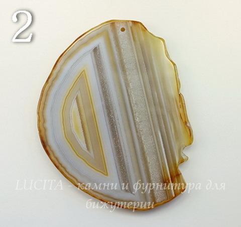 Подвеска Срез Агата (тониров)(цвет- коричневый) (№2 (81х62 мм))
