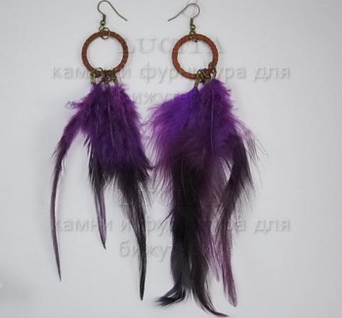 Серьги с перьями на колечке , цвет швенз - бронза , цвет пера - фиолетовый