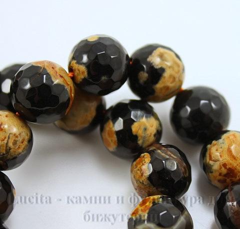 Бусина Агат, шарик с огранкой цвет - черный с бежевым , 10 мм, нить ()