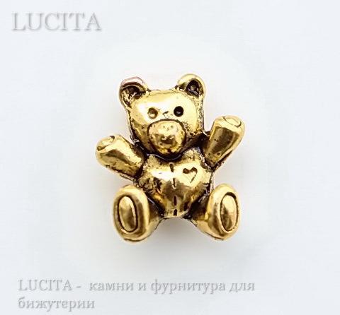 """Бусина 3D """"Мишка"""" (цвет - античное золото) 14х12 мм ()"""