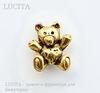 """Бусина 3D """"Мишка"""" (цвет - античное золото) 14х12 мм"""