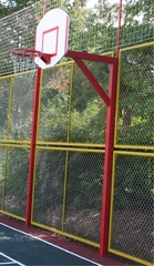 Стойка баскетбольная уличная, вылет щита 1,2, высота кольца 2,4 со щитом 120х90 (уличным), с кольцом с метал. сеткой (комплект)