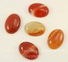 Кабошон овальный Агат Красно-оранжевый с полосками, 25х18 мм