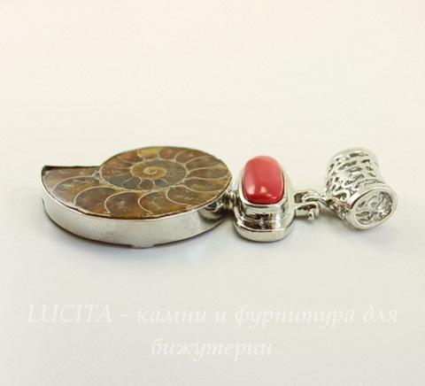 Подвеска Аммонит (цвет - античное серебро) 63х35х7 мм