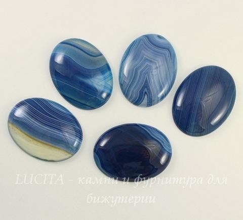 Кабошон овальный Агат (тониров), цвет - синий с полосками, 40х30х8 мм