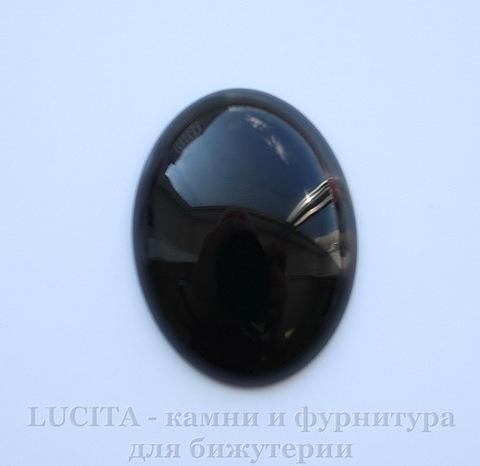 Кабошон овальный Агат Черный  (прессов., тониров) 40х30 мм
