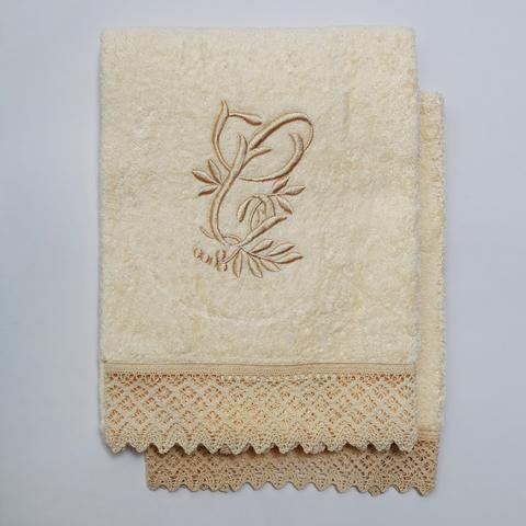 Набор полотенец 2 шт Old Florence Rombetti с вышивкой инициалов C бежевый