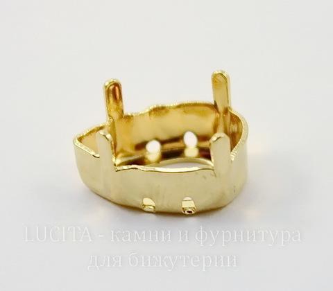 4320/S Сеттинг - основа для страза Капля 18х13 мм (цвет - золото)