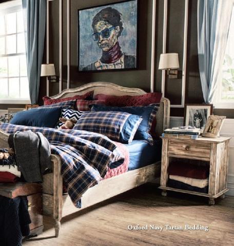Постельное белье 2 спальное евро Casual Avenue Oxford Navy Tartan темно-синее