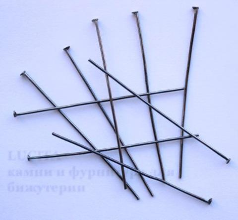 Комплект пинов - гвоздиков (цвет - черный никель) 50x0,8 мм, примерно 500 штук ()