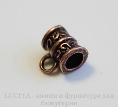 Бейл с узором 10х8 мм (цвет - античная медь) ,5 штук ()